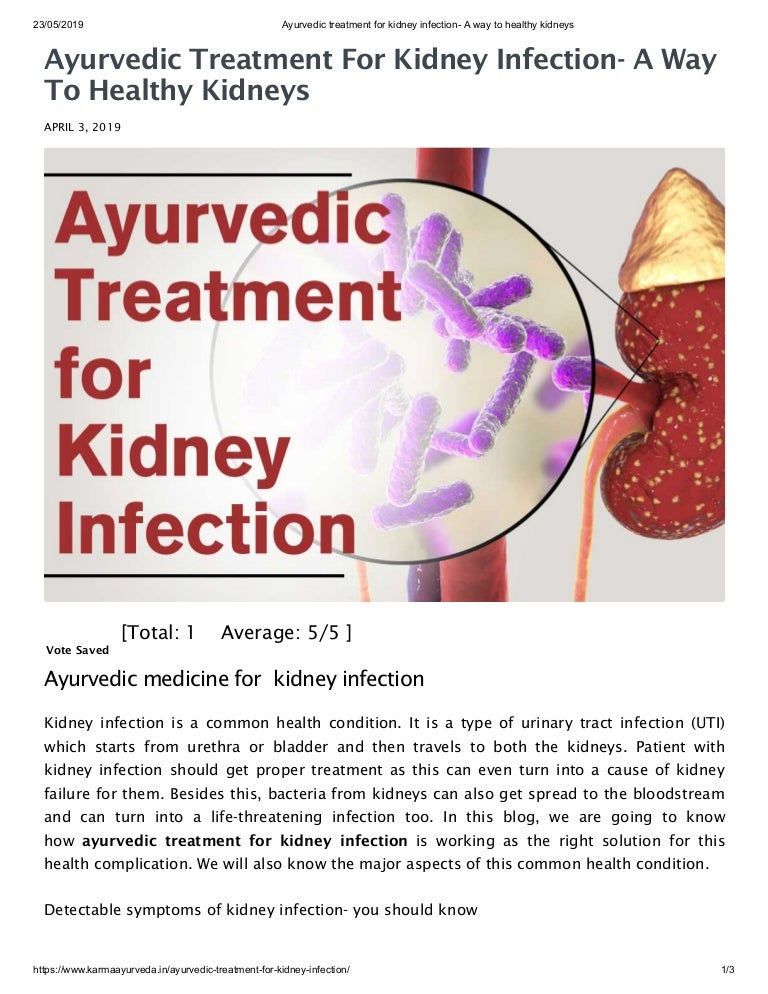 Ayurvedic Treatment For Kidney Infection A Way To Healthy Kidneys