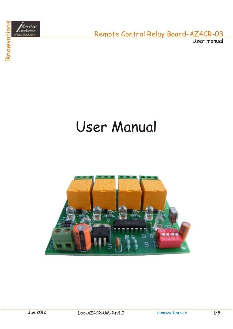 Az4cr 4 Channel Ir Remote Control Relay Board User Manual Rc5 Transmitter