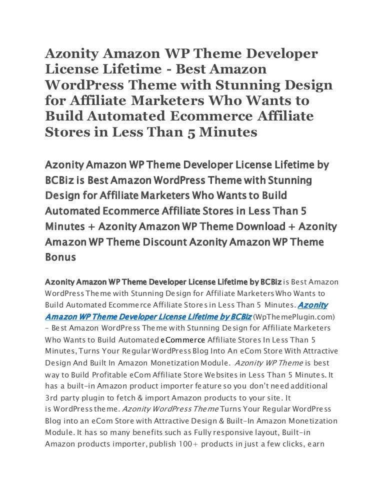 Azonity Amazon WP Theme Developer License Lifetime