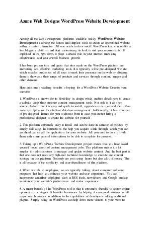 Azure web designs word press website development