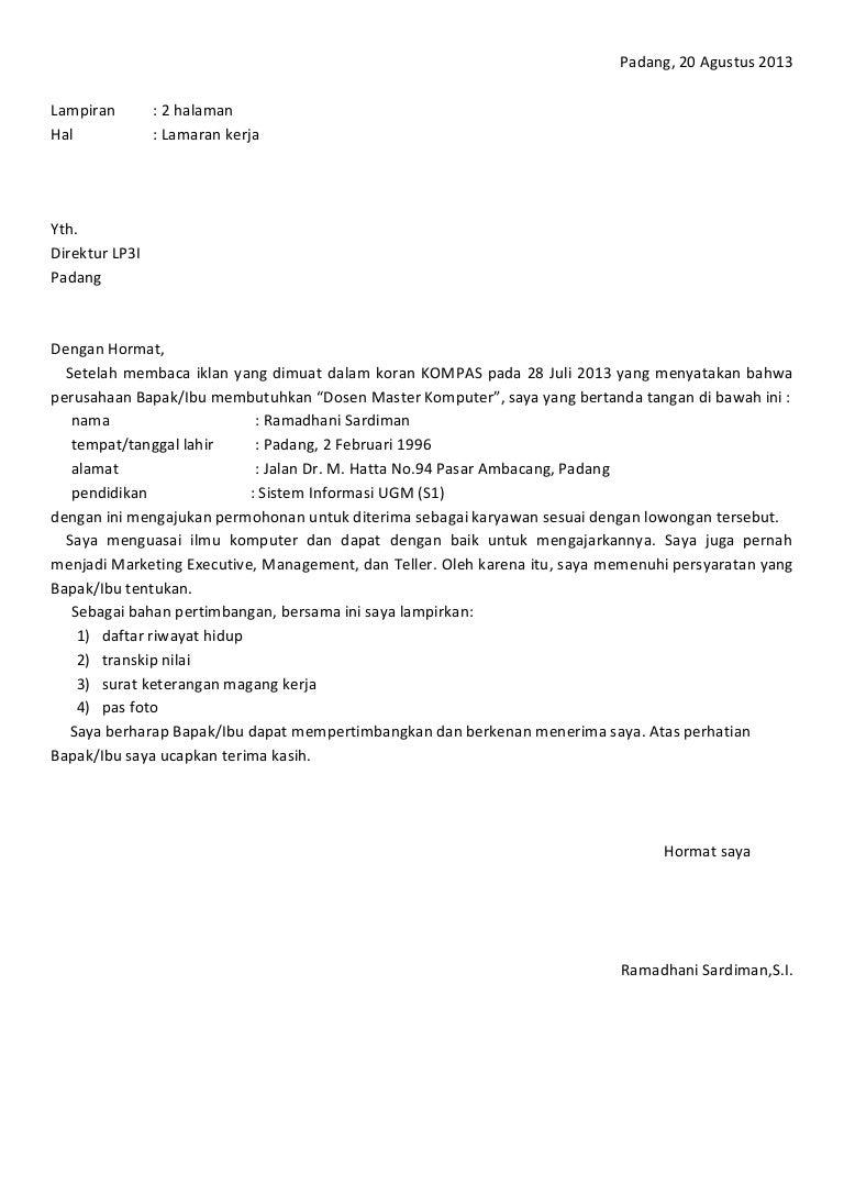 B Indonesia Surat Lamaran Kerja