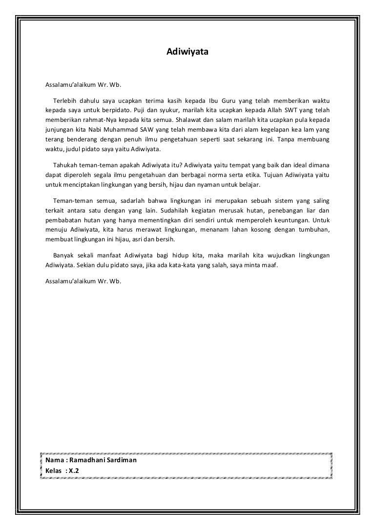 B Indonesia Pidato Adiwiyata