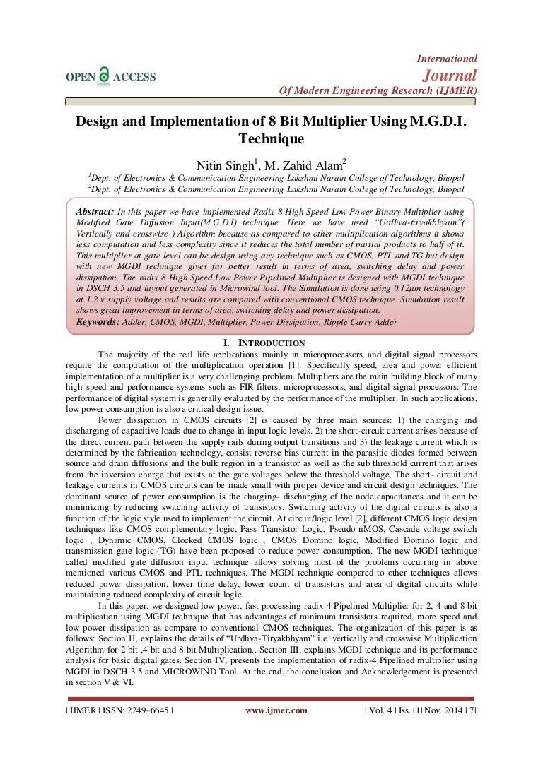 Design And Implementation Of 8 Bit Multiplier Using Mgdi Technique Logic Diagram 4