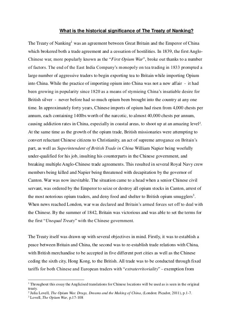 an analysis of the treaty of nanjing