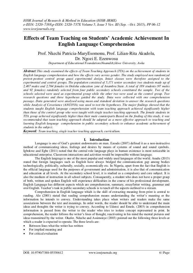 effects of team teaching on students academic achievement in english