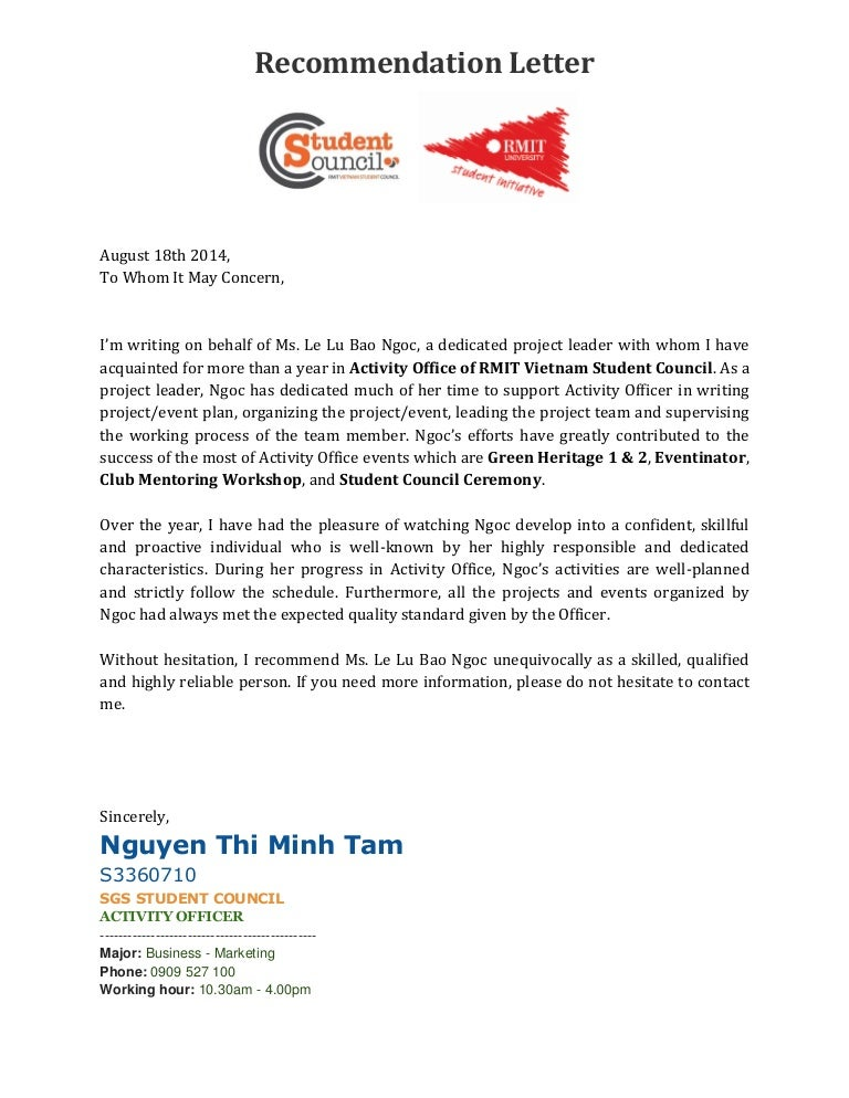 Refference Letter From Activity Officer RMIT Student Council Vietnam