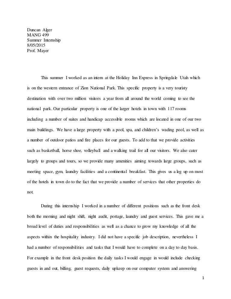 Internship Experince Essay