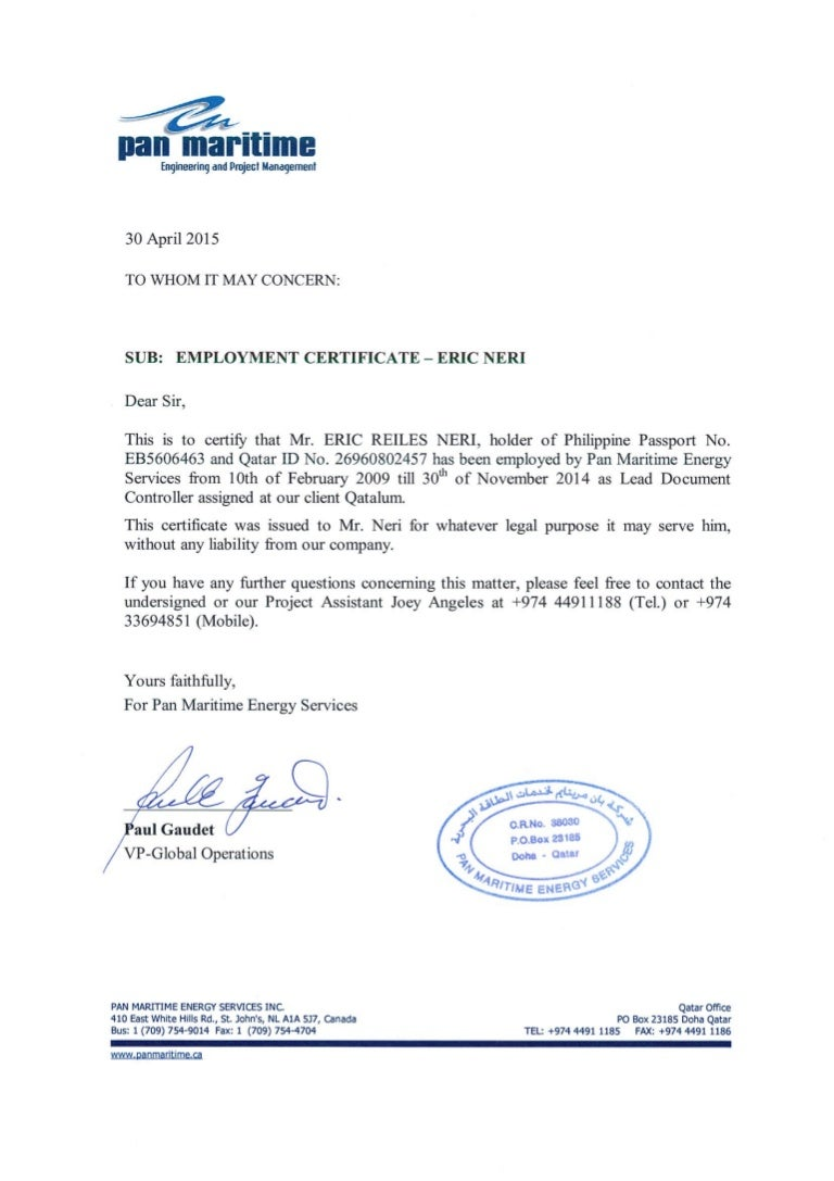 Pan maritime employment certificate 1betcityfo Images