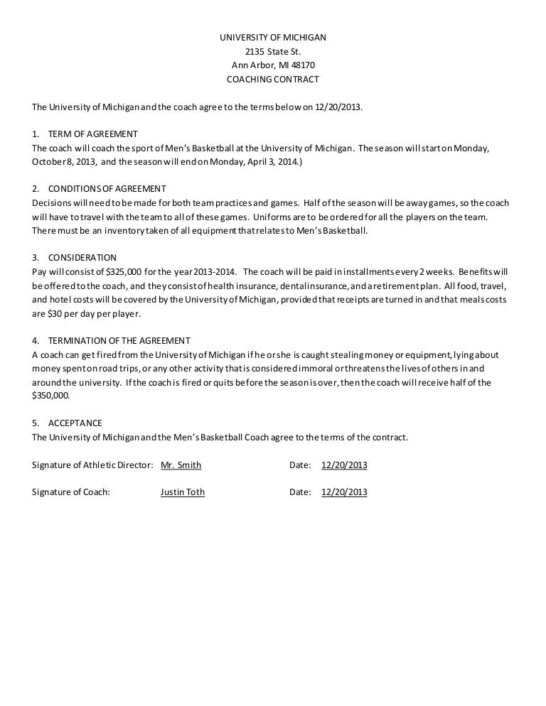 Mens Basketball Coach Contract Example – Teacher Agreement Contract