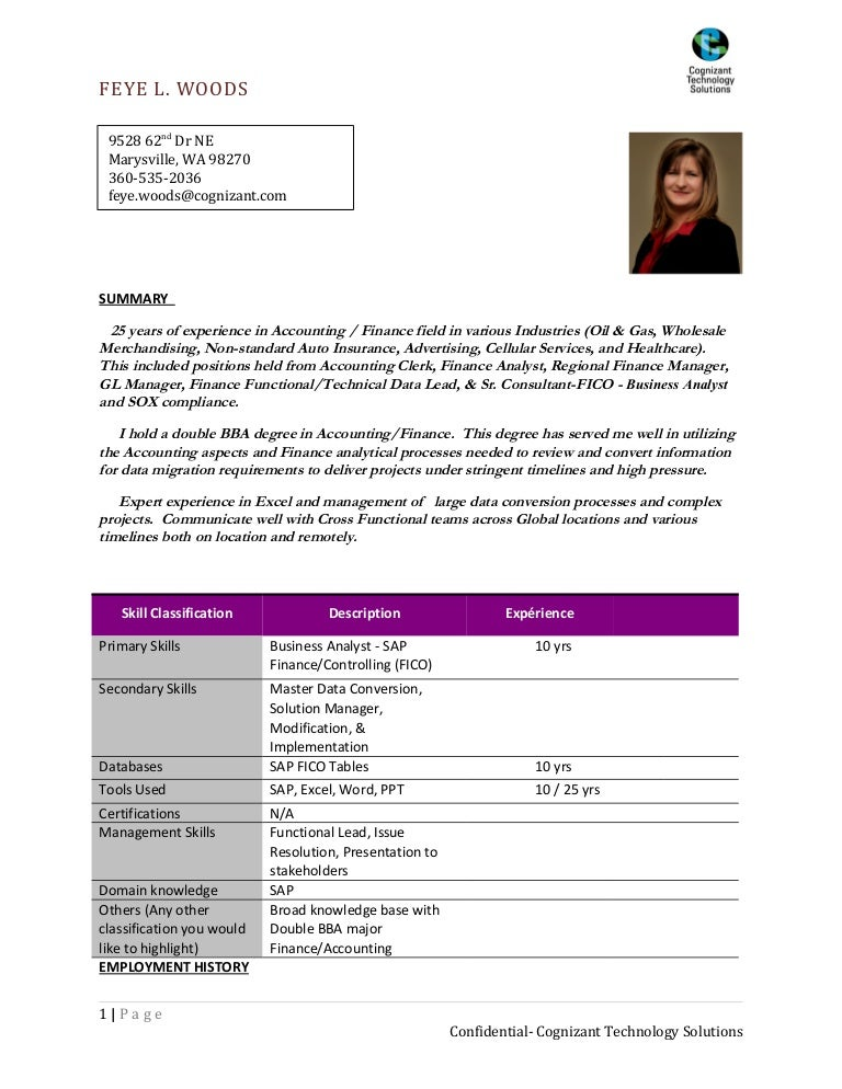 sap fico sample resume