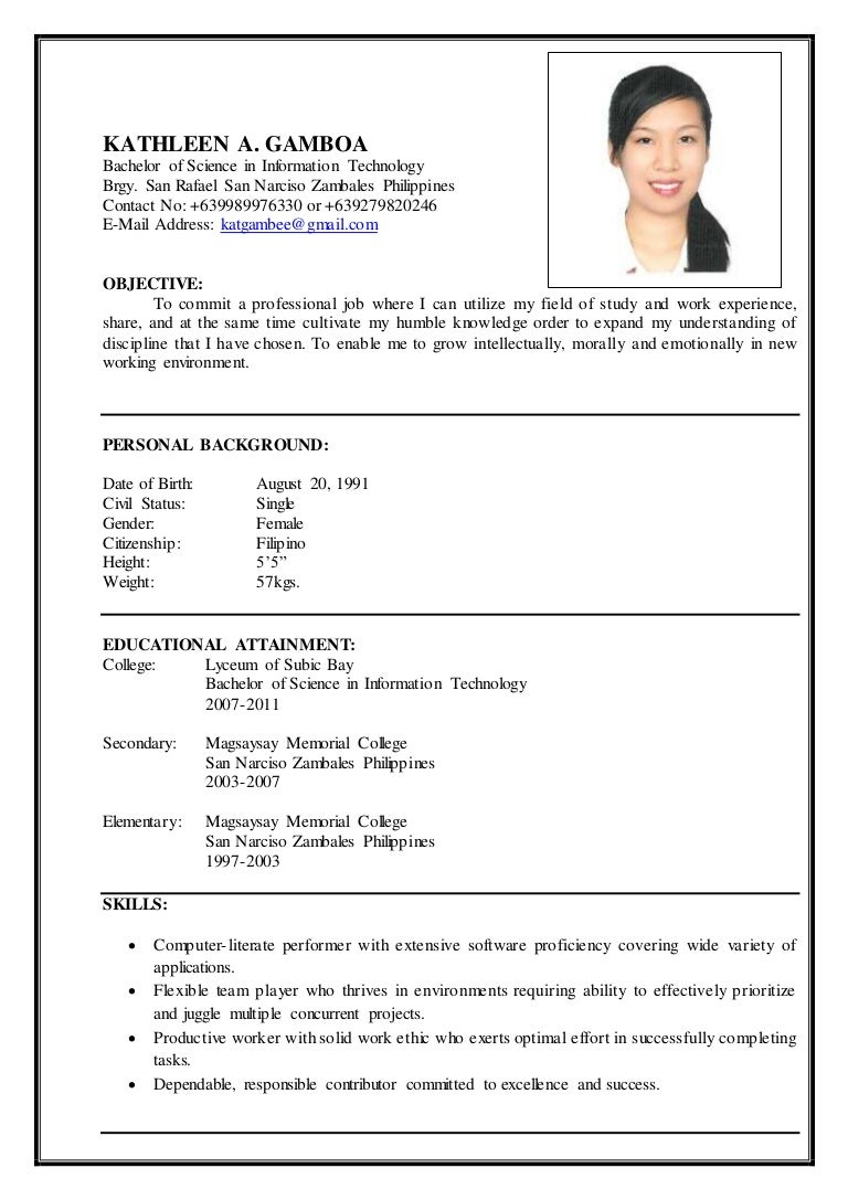 gamboa resume - Resume Objective Sample Philippines
