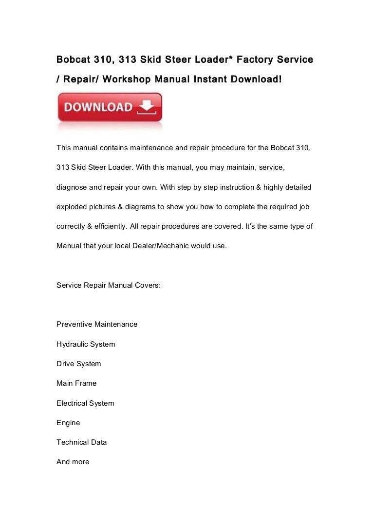 ghdonat.com Bobcat 310 Skid Steer Loader Service Manual ...