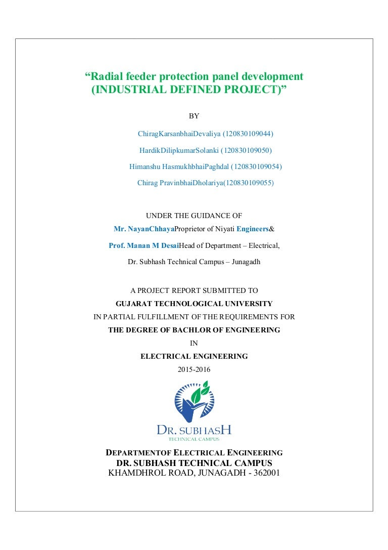 Report Radial Feeder Protection Panel Development Relay Terminal 3 Cdg