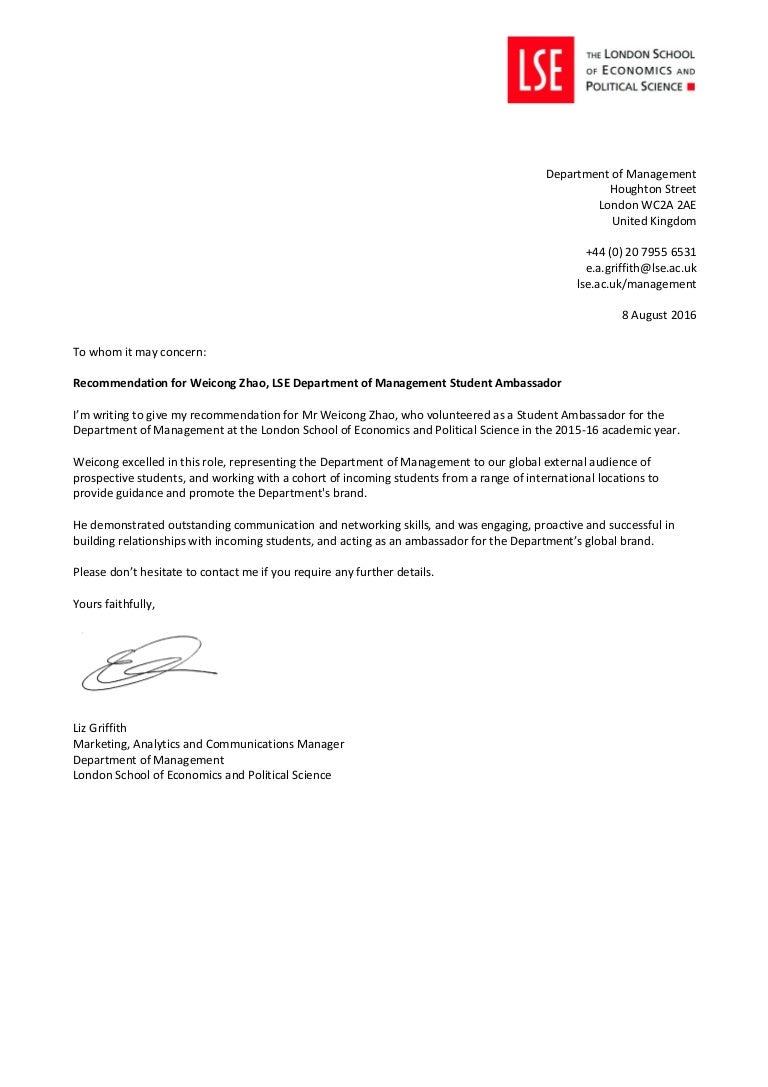 DoM Student Ambassador Recommendation Letter Weicong Zhao – Student Recommendation Letter