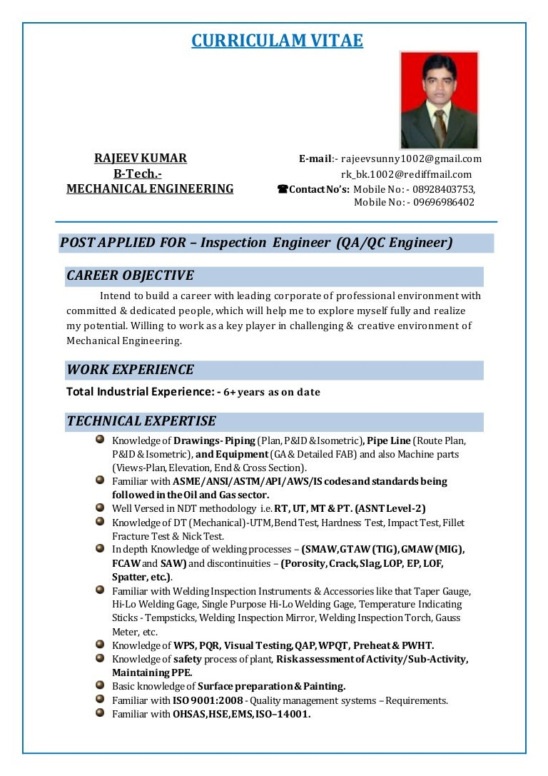 Quality Control Mechanical Engineer Resume لم يسبق له مثيل الصور