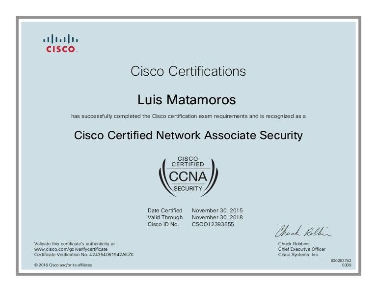 Certificate Ccna Security