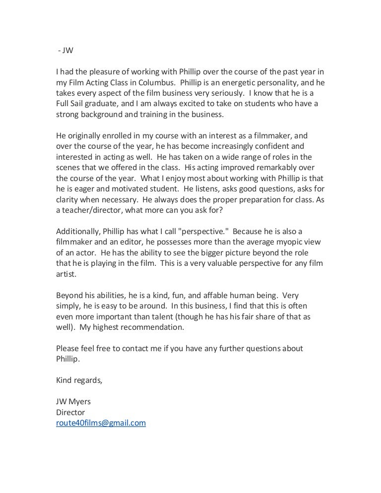 Recommendation Letter From Acting Coach
