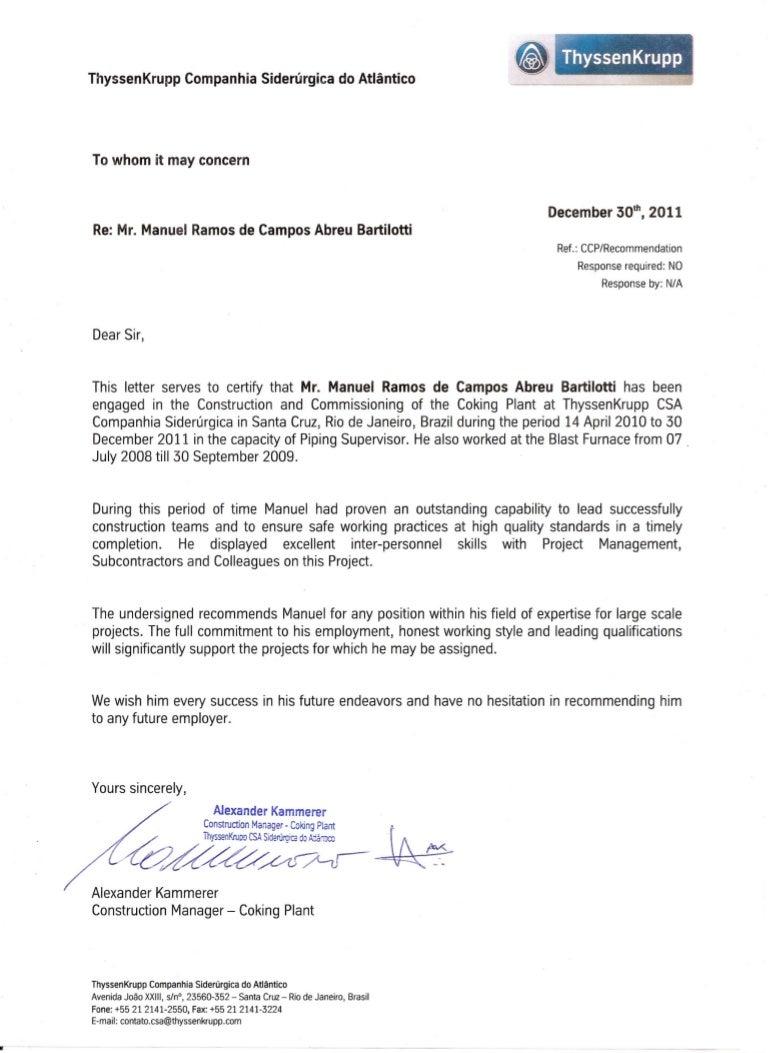 Recommendation Letter From Thyssenkrupp Csa