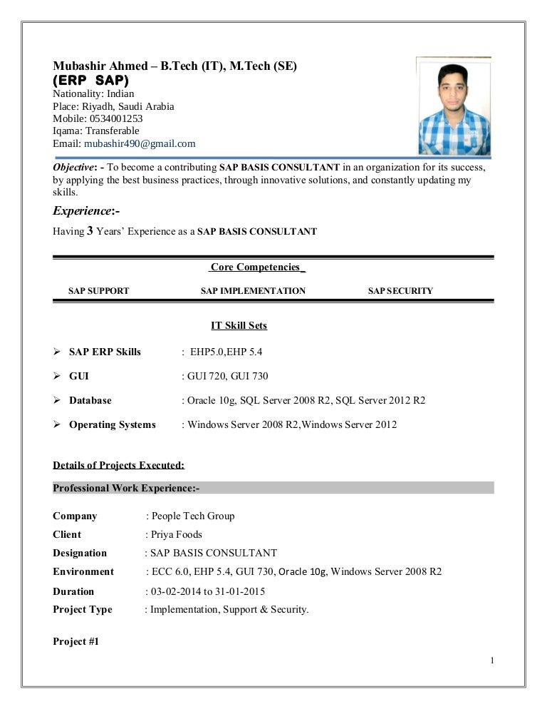 mubashir ahmed erp sap basis consultant resume with 3 yr exp - Sample Sap Resume