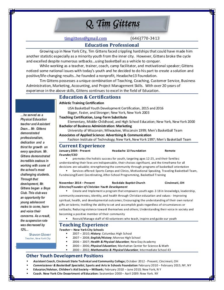 2016 Education Resume