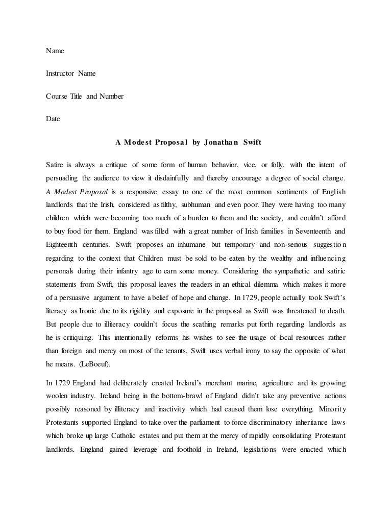 satire essay modest proposal