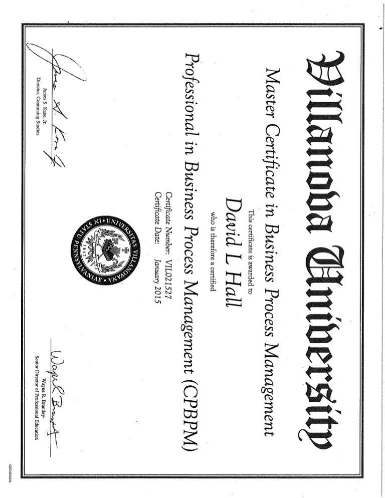 DHall Villanova Master Certificate BPM