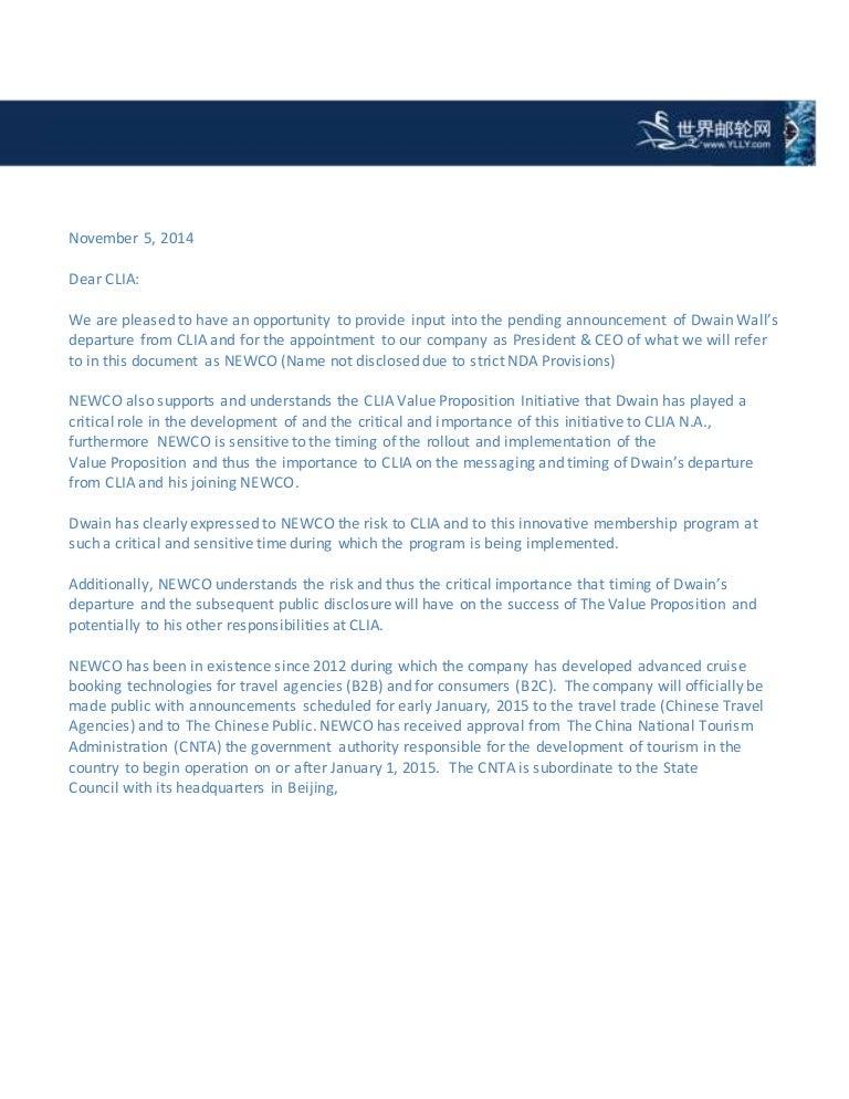 Dwain Wall CLIA NEWCO Announcement