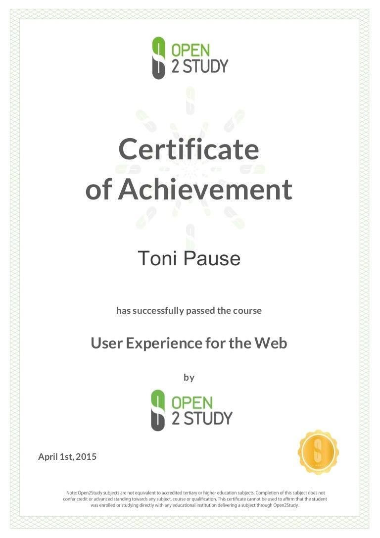 Open2study user experience design certificate of achievement xflitez Choice Image