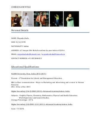 Mayanka Dadu Resume(CV)
