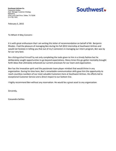 pilot letter of recommendation