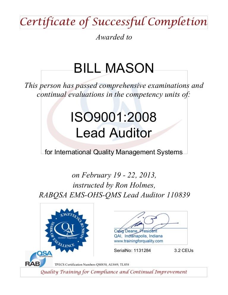 Aoi Lead Auditor Certification