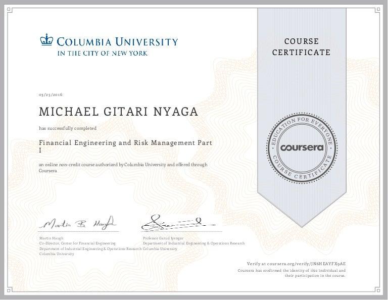 my coursera financial engineering certificate