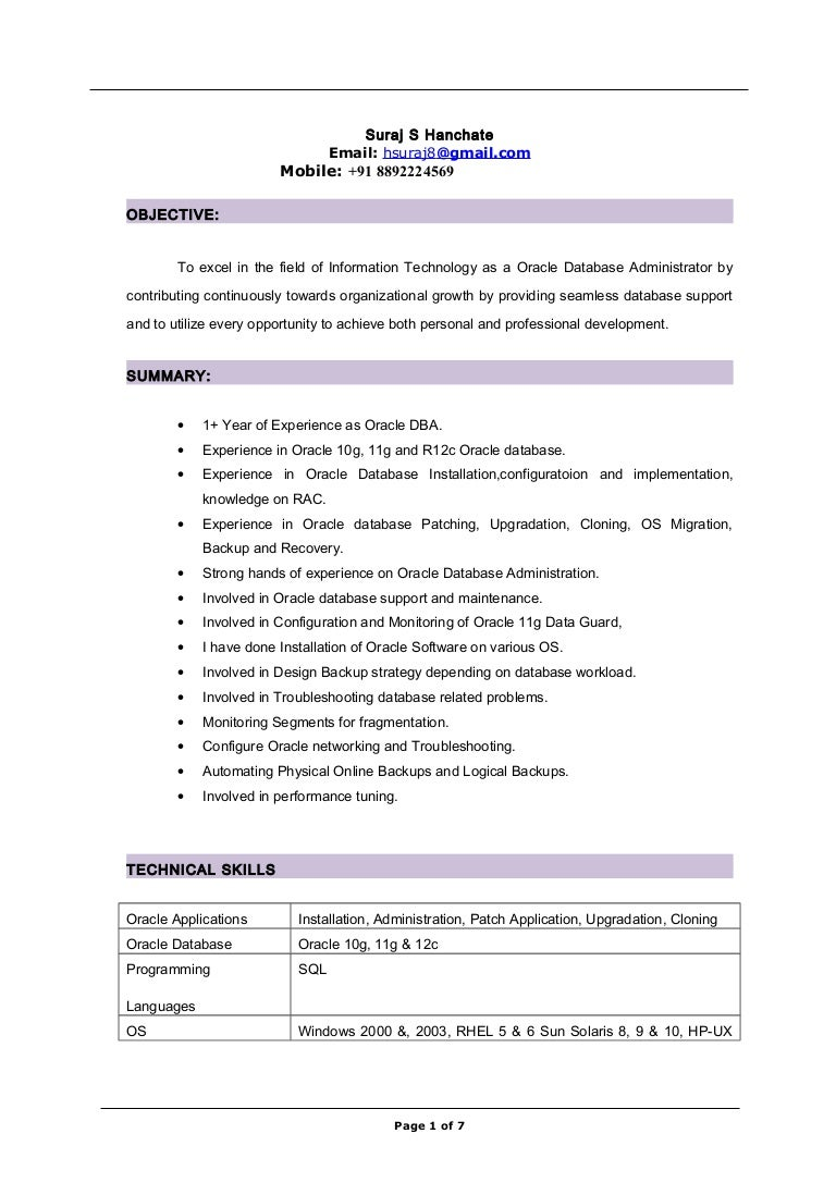 Oracle Dba Resume For 1 Year Experience Vosvetenet – Sample Resume for Oracle Dba