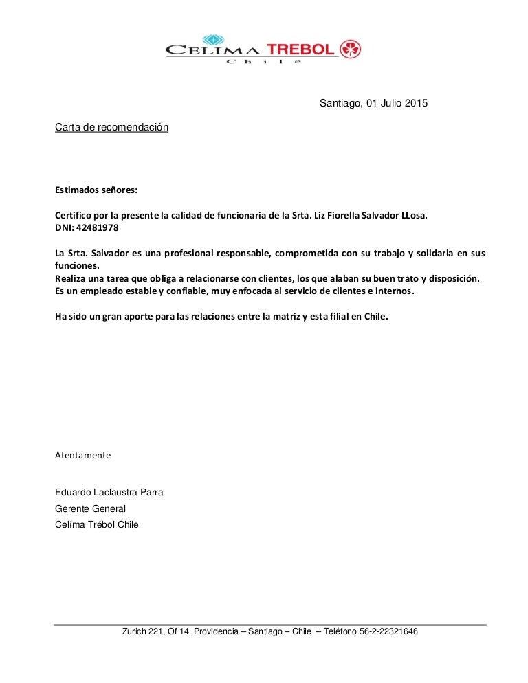 Carta De Recomendacion Chile