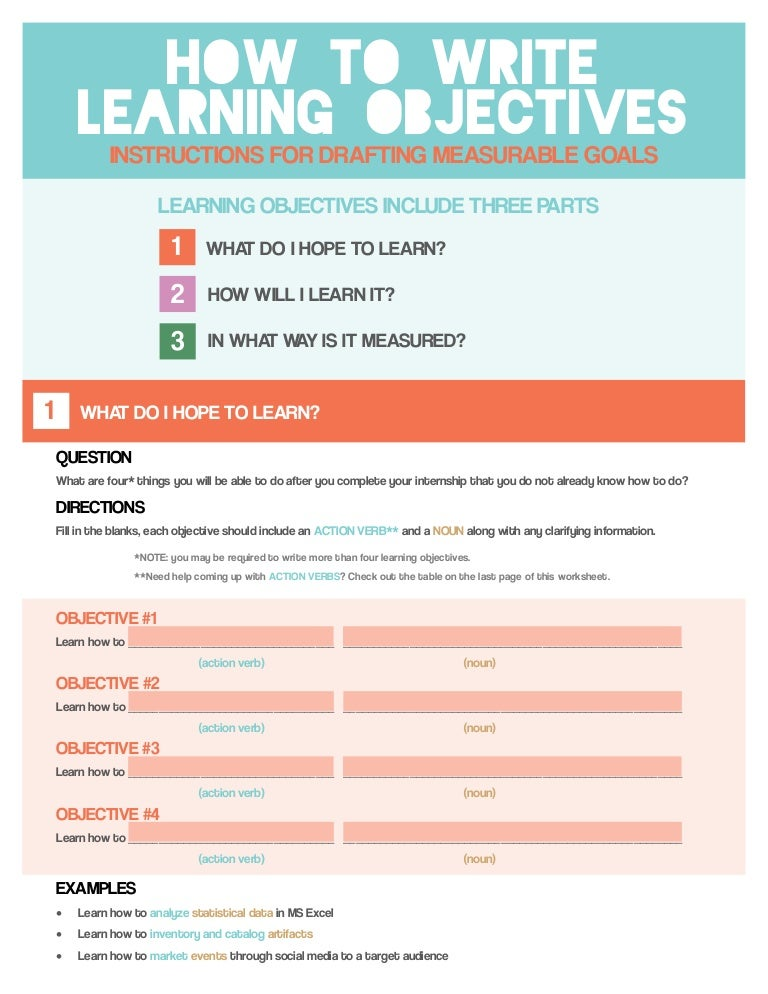 how to write learning objectives