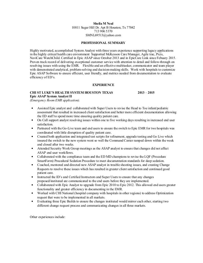 Ehr Analyst Resume Vosvetenet – Sample Resume for System Analyst
