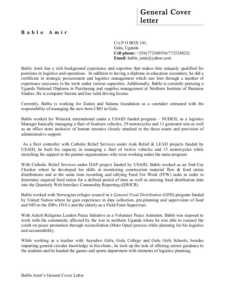 Bablo Amir Cover Letter