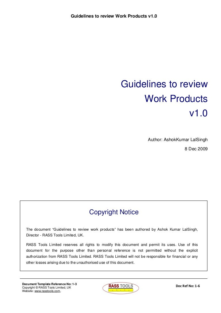 Guidelines to Review Work products