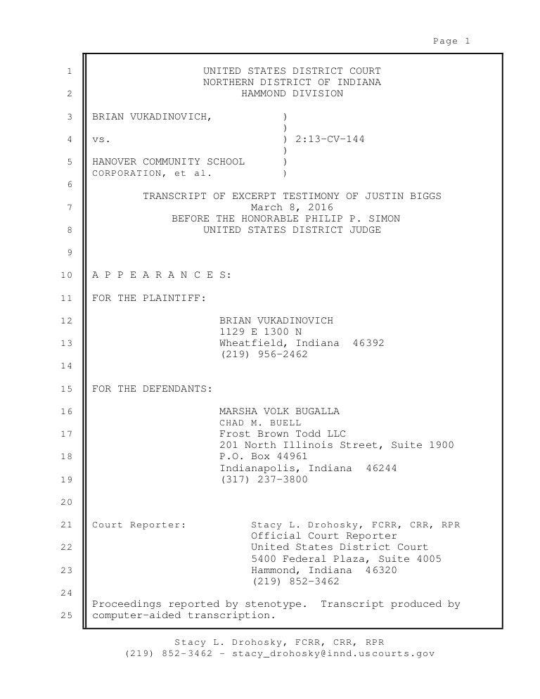 03-08-2016 Justin Biggs Testimony - Vukadinovich Trial