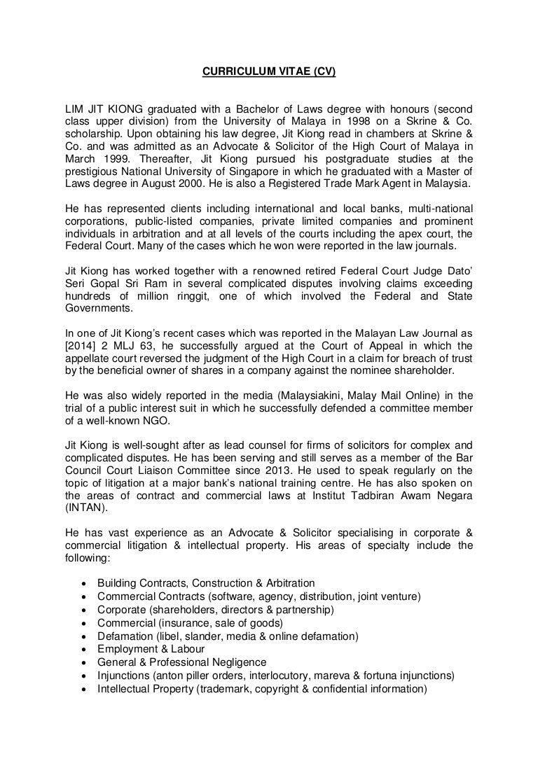 Lim Jit Kiong\'s CV