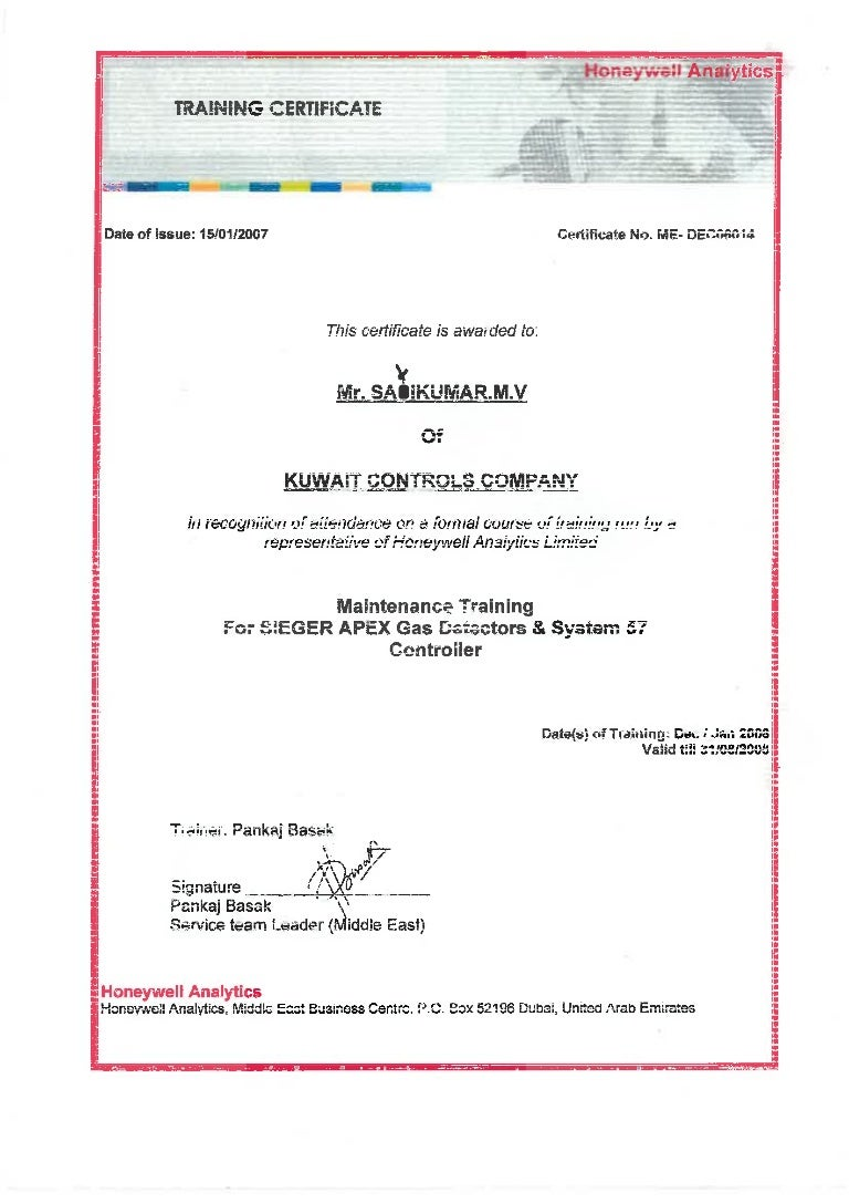 honeywell analytics certificate