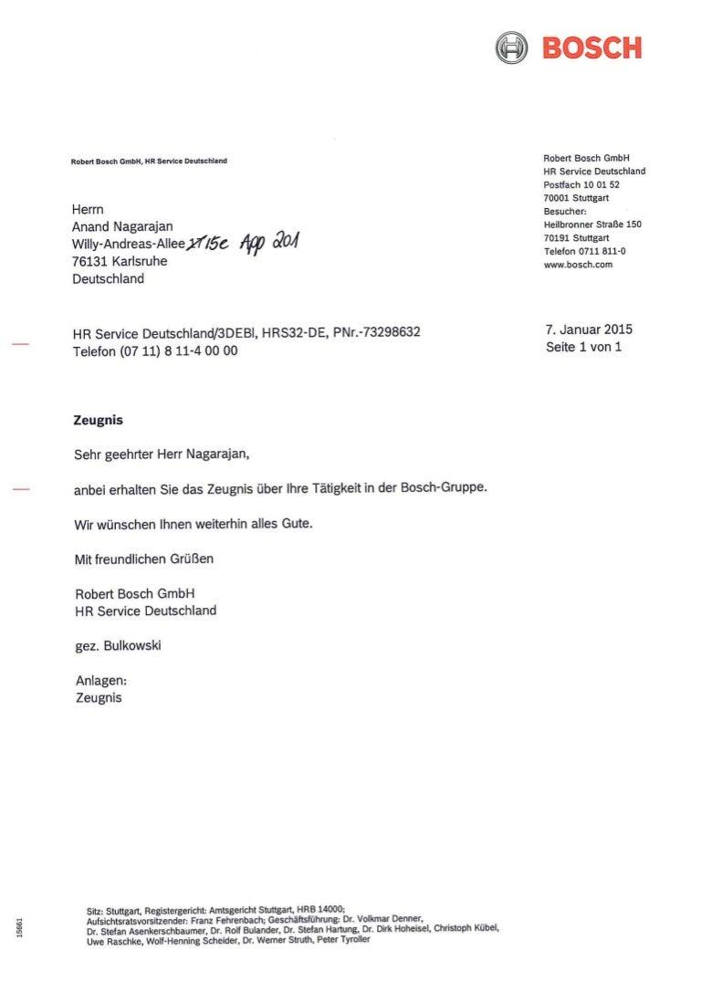 Bosch GmbH- Praktikum Zeugnis