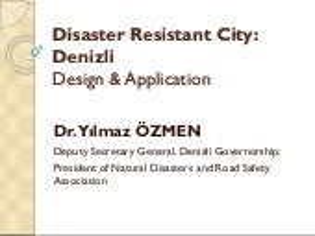 Disaster Resistance City- Denizli