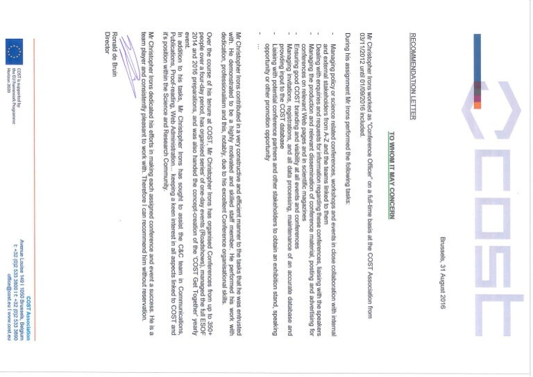 COST Reference letter