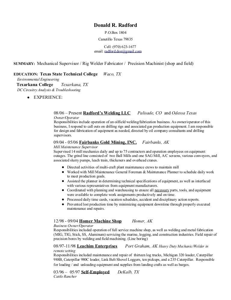 Don'S Mechanical Resume