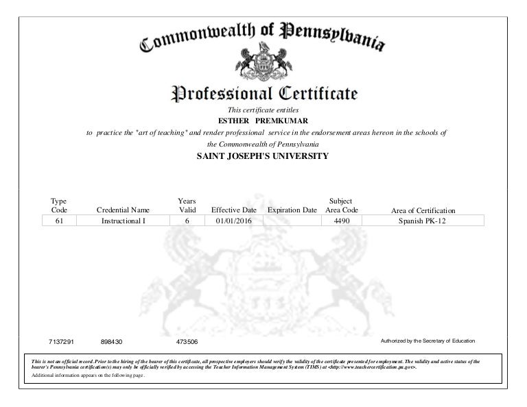 Pa Spanish Certification
