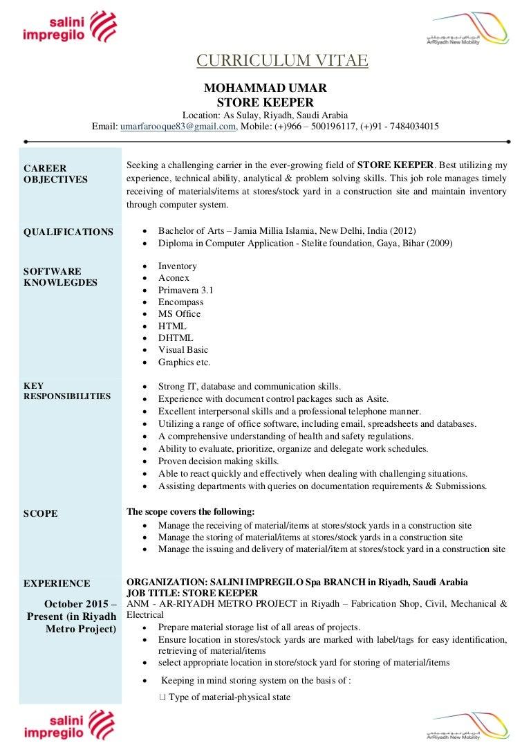 curriculum vitae store keeper 28 12 2016