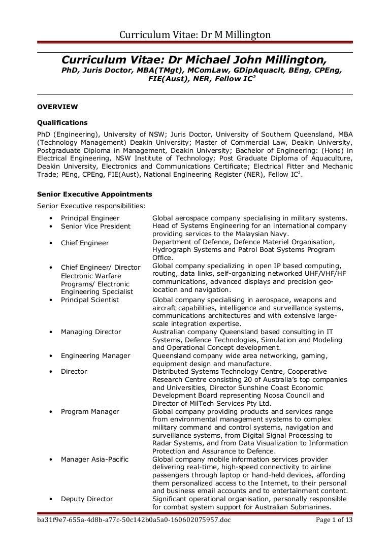 Brief CV - M Millington May 2016