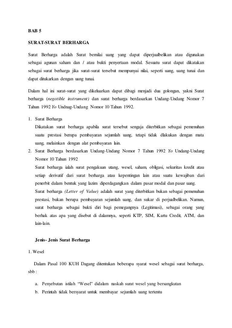 Bab 5 Surat Surat Berharga