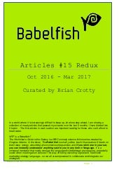 Babelfish articles oct 16 mar 17 28-3-17 redux